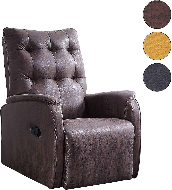 Adec - Swing, Sillón Relax automático, tapizado en Tejido Color Chocolate Vintage, butaca Descanso, Medidas: 70 cm (Ancho) x 80 cm (Fondo) 93 cm (Alto)