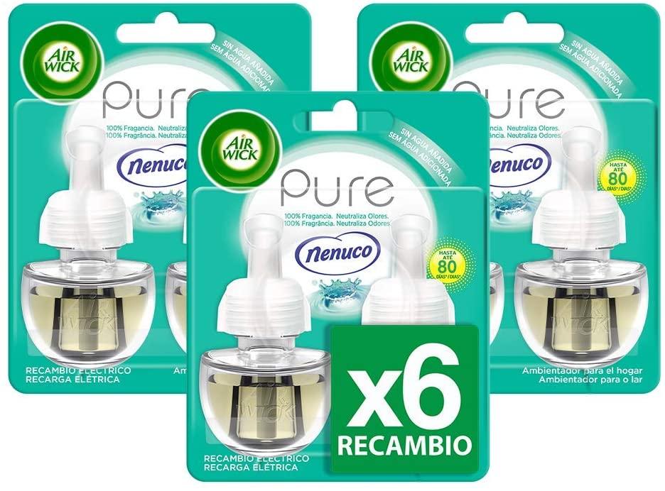 Air Wick Ambientador eléctrico para el hogar, recambio fragancia Nenuco, pack de 6