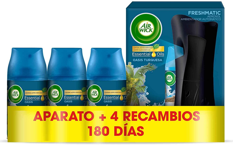 Air Wick Ambientador Freshmatic Fragancia Oasis, Aparato + 4 recambios
