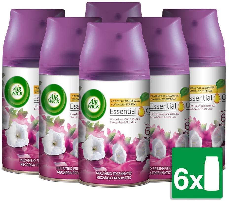 Air Wick Freshmatic Ambientador para el hogar, recambio fragancia Lirio de Luna y Satén de Seda - Pack de 6