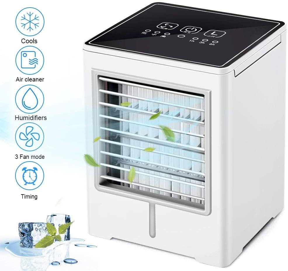 Aire Acondicionado Portátil, 4 en 1 Air Cooler, Humidificador y Purificador, Air Cooler Fan con 3 Velocidades, Función de sincronización para Hogar Oficina Acampada