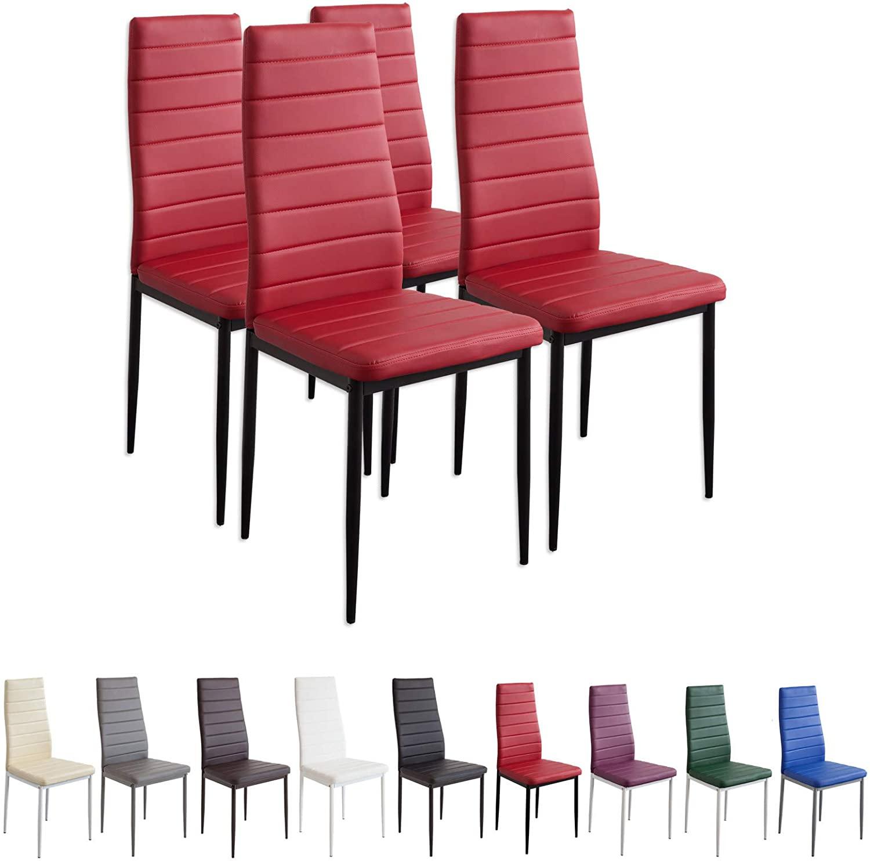 Albatros 2704 Milano Set de 4 sillas de Comedor, Rojo