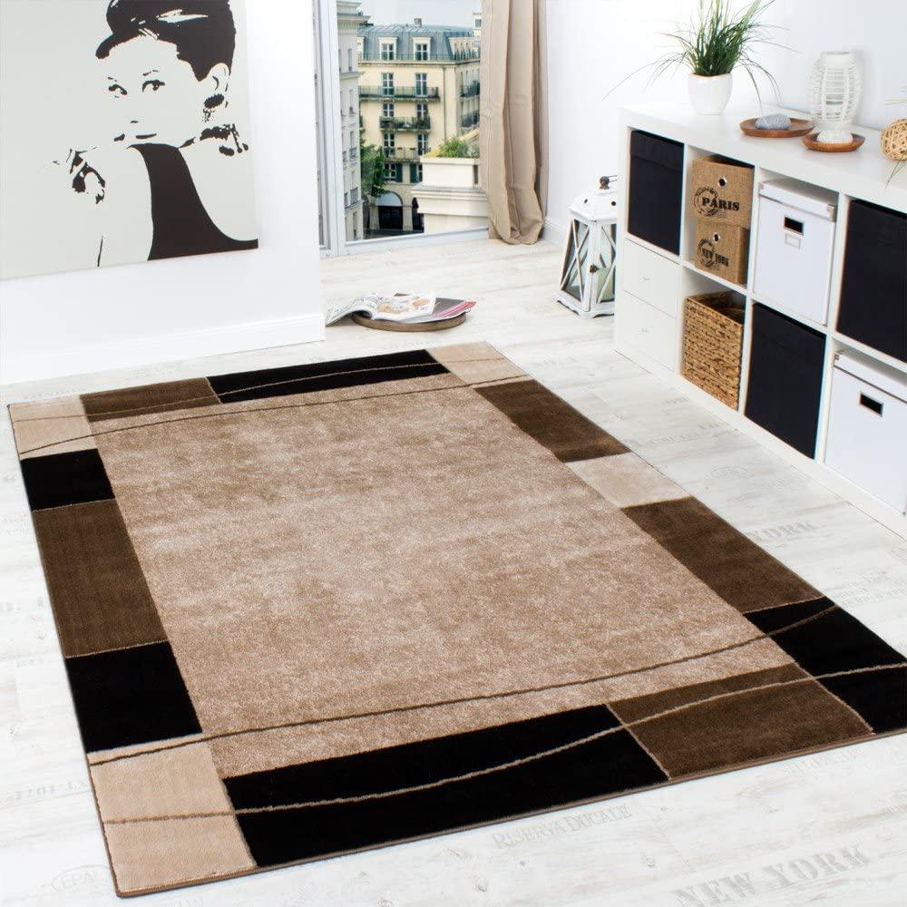 Alfombra De Diseño para Sala De Estar Alfombra con Bordura Moderna Marrón Beige, tamaño:160x220 cm