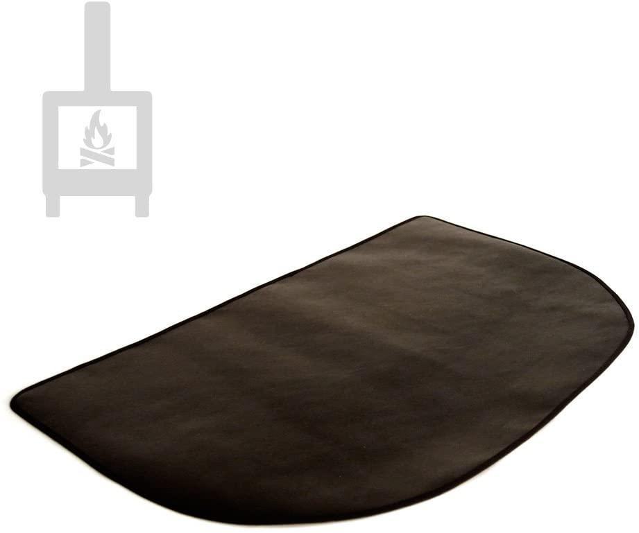 Alfombra ignífuga semicircular protectora de suelo para estufa y chimenea (80x50cm)