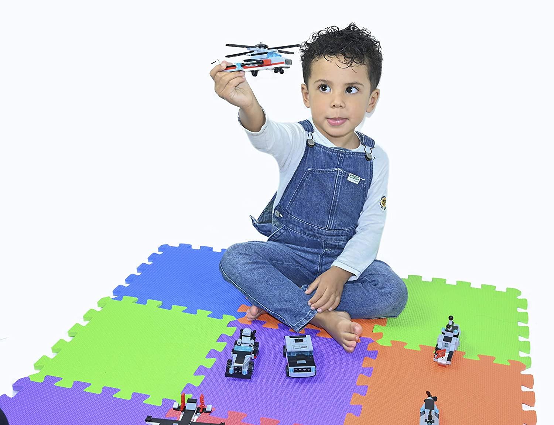 Alfombra infantil puzzle bebe suelo goma espuma eva parque juego niños foami colchoneta protector habitación bebes juegos manta para zona infantiles acolchado de REGALO una figura avion juguete