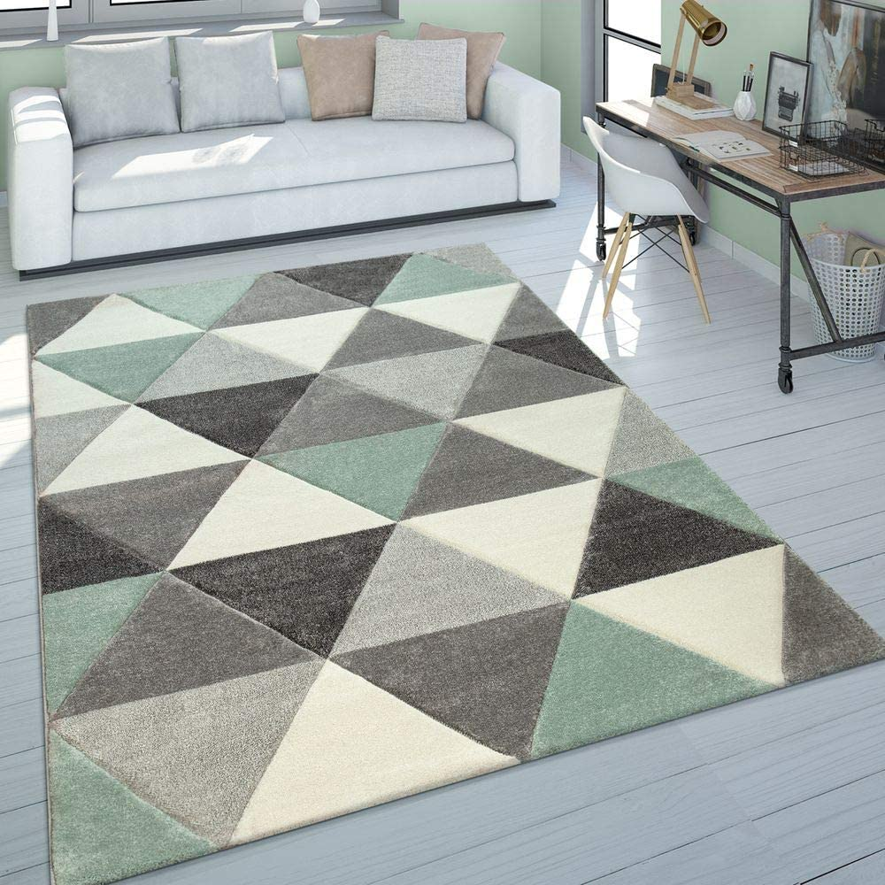 Alfombra Salón Verde Gris Tonos Pastel Pelo Corto Diseño Retro Motivo Triángulos, tamaño:80x150 cm