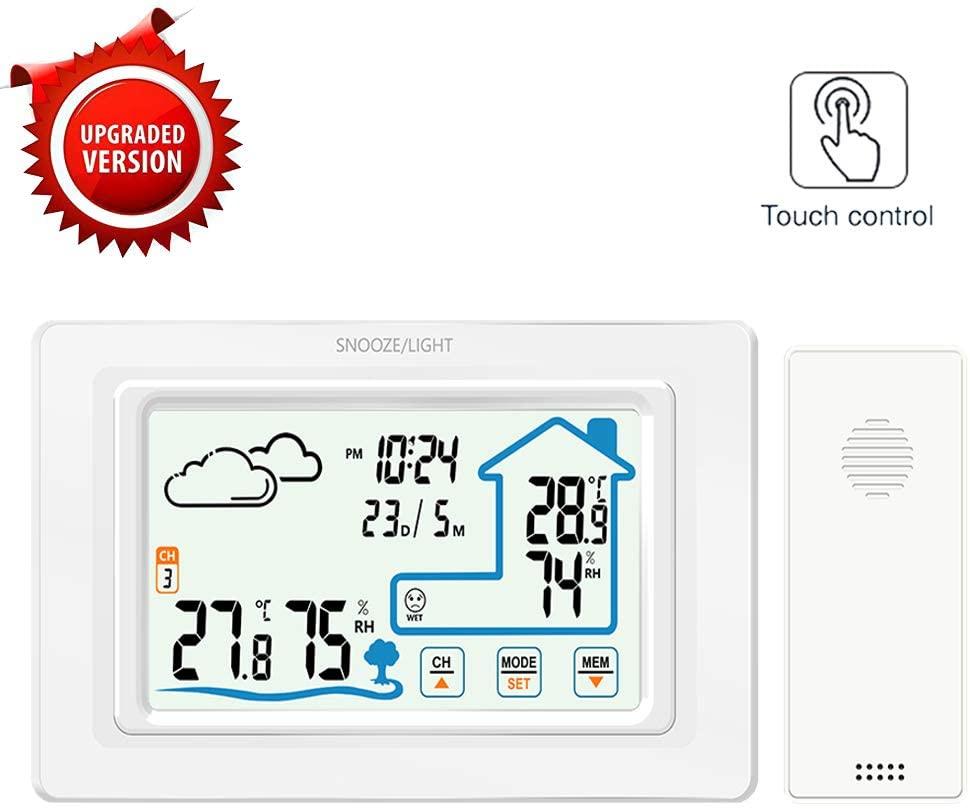 ALLOMN Estación Meteorológica Inalámbrica, Control Táctil Temperatura Digital Higrómetro Previsión Meteorológica Reloj/12/24H/Calendario/Previsión meteorológica/Alarma Despertador/Retroiluminación LED