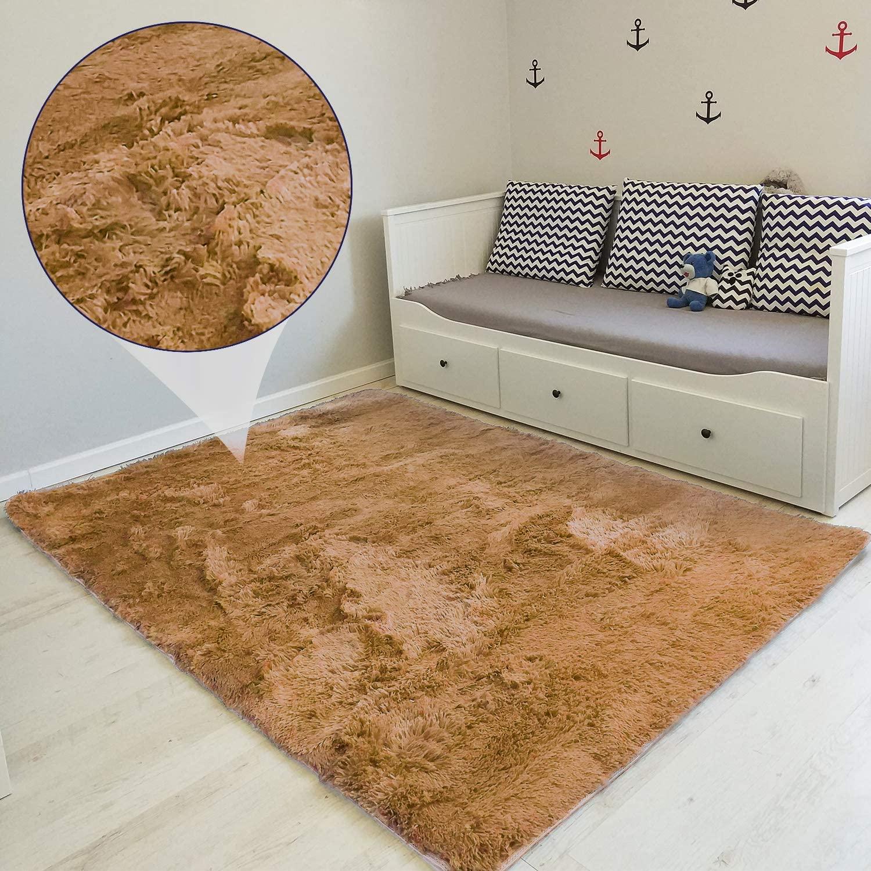 Amazinggirl alfombras Salon Grandes - Pelo Largo Alfombra habitación Dormitorio Lavables Comedor Moderna vivero (Caramelo Beige, 160 x 230 cm)