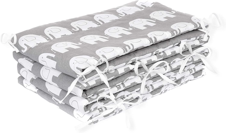AMI Lian® Protector de cama nido–Protector de cabeza cuna 420x 30cm, 360x 30cm, 180x 30cm Cama Cuna Baby Protector de bordes cama Equipamiento elefante gris gris gris Talla:360x30cm