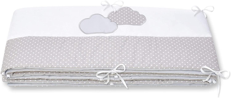 Amilian® - Protector para cuna, protector de cuna, protector de bordes para bebé con bordado gris Puntos pequeños, color gris/nubes Talla:360cm (für das Babybett 120x60cm- rundherum)