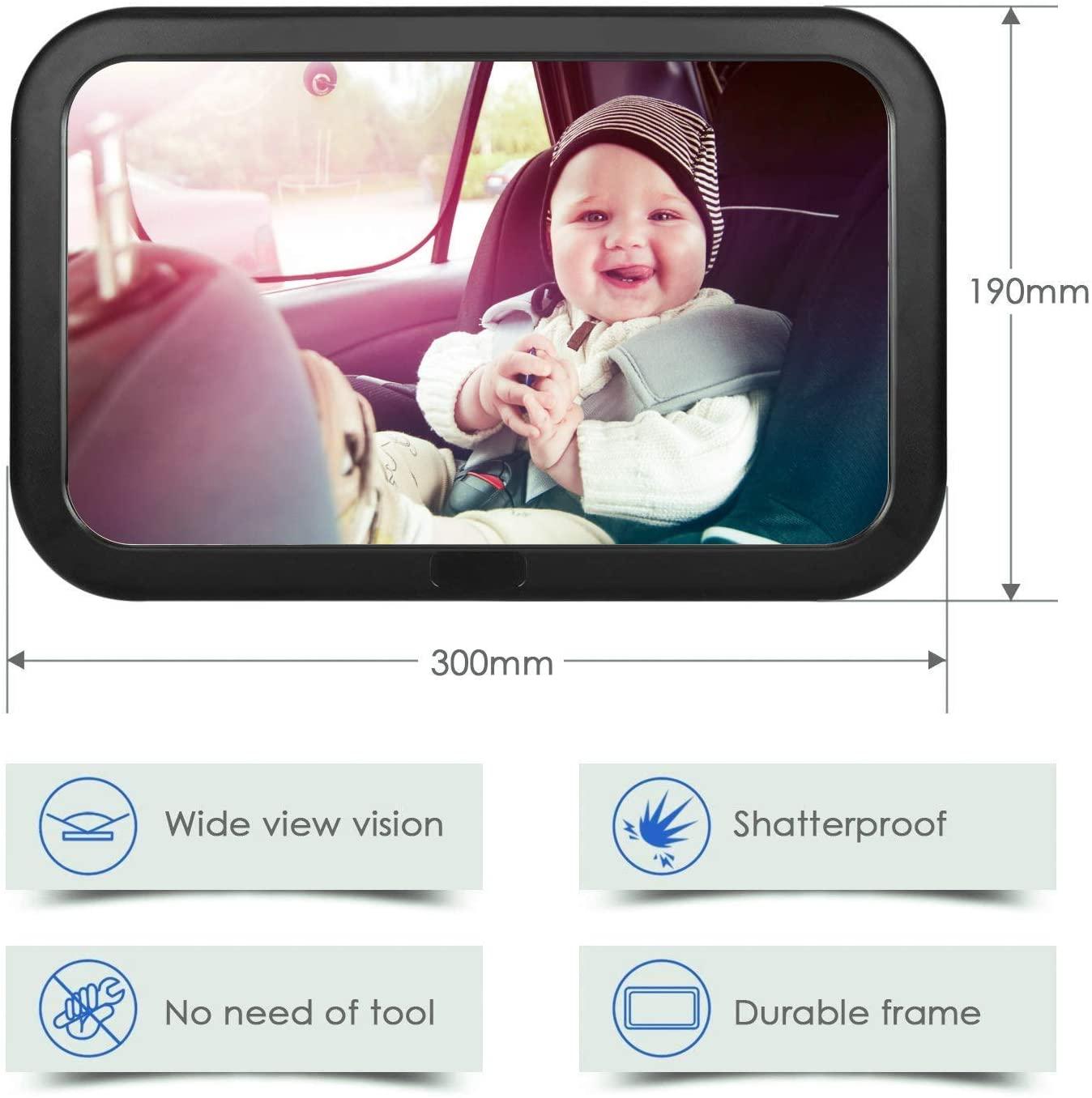 amzdeal Asiento Trasero Espejo para Bebés, Espejo irrompible para Auto con Gran Campo de visión, Baby–Espejo Sin einzelteile/Tornillos, Giratorio 360°, tamaño 300x 190x2,8mm