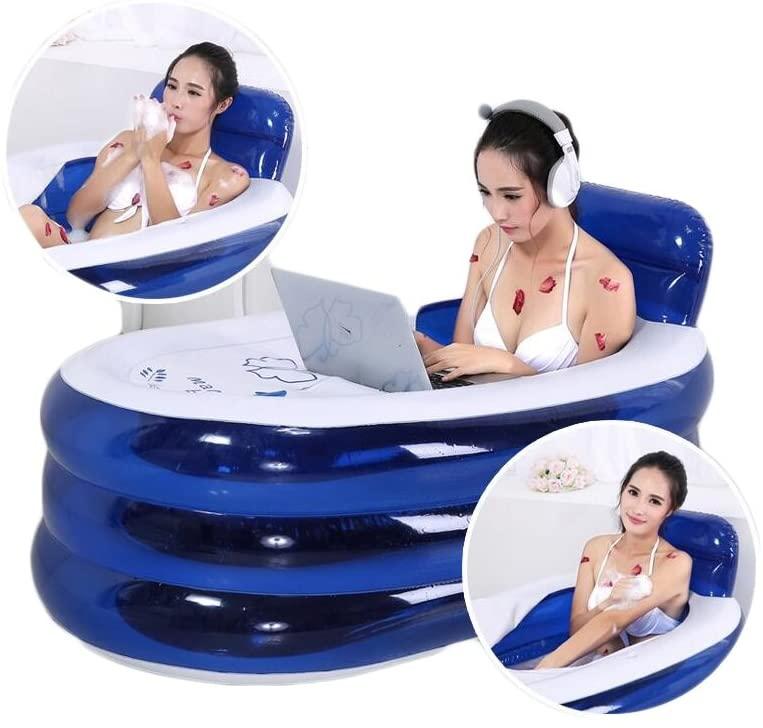 ANDEa Adulto inflado de la bañera de aislamiento del respaldo plástico más grueso 130 * 70 cm de pliegue baño de barril Bañeras de baño para adultos Cilindro de baño infantil Originalidad ( Color : Azul )