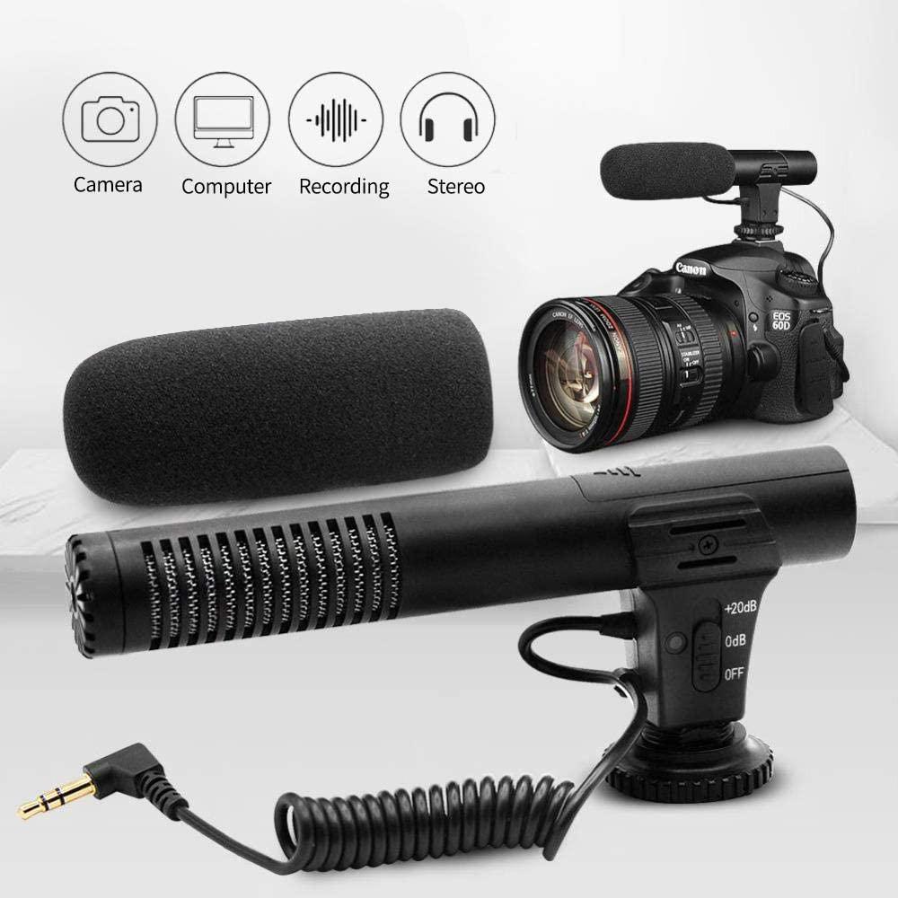 AOMEO Enchufe de audio de 3.5 mm Micrófono de grabación de cámara profesional para cámara DSLR Videocámara digital de videograbadora VLOG