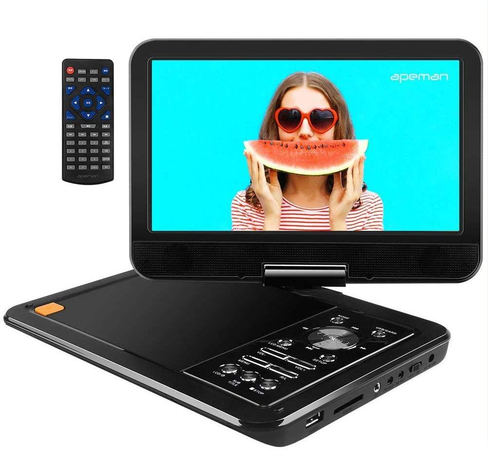 """APEMAN 10.5"""" Reproductor de DVD Portátil para el Coche Reproductor DVD con Pantalla Giratoria Soporta Tarjeta SD/USB/CD/DVD Batería Recargable con Mando a Distancia"""