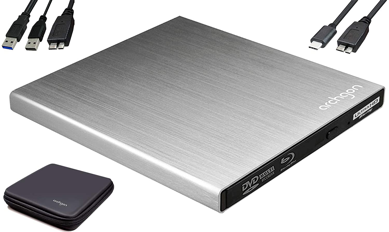 Archgon Star UHD 4K-Ultra HD BD Reproductor Player Externo, lectores grabadora de BLU-Ray BDXL para PC USB 3.0 USB-C, M-Disc, Caja de protección, Unidad bluray Externa, Lector UHD, ALU Plateado