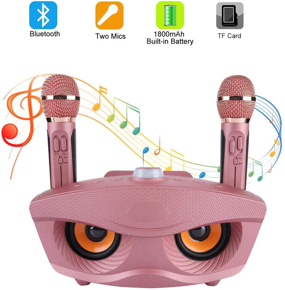 ASHATA Máquina de Karaoke,Karaoke Machine Portátil para Equipo para Fiestas,Altavoz Inalámbrica Bluetooth con 2 Micrófonos para Party,Home KTV,etc.