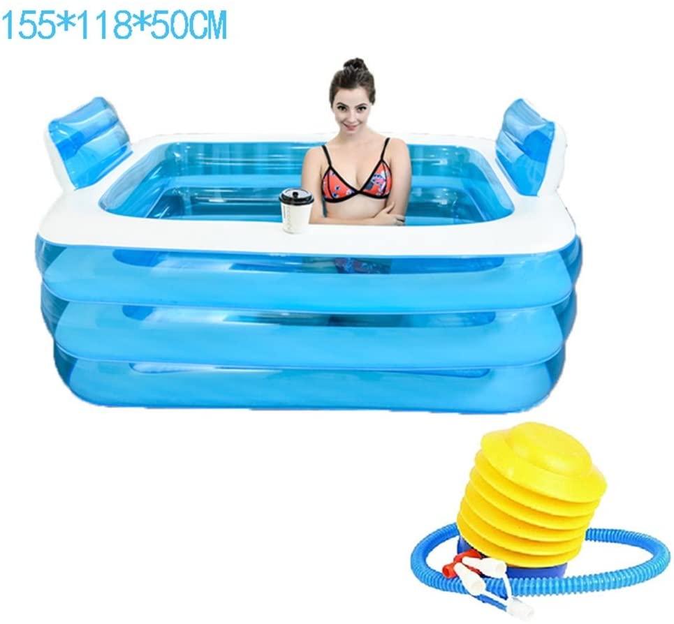 ASL Pliegue la bañera inflada plástica La bañera más gruesa del aislamiento Doble el niño portable Baños adultos del baño Barril de la colada de la tina de baño Nuevo ( Tamaño : 155*118*50CM )
