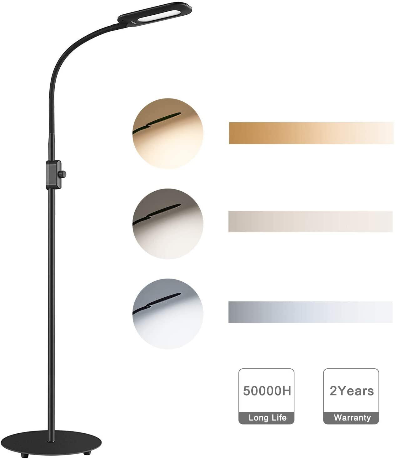 AUKEY Lámpara de Pie Regulable con Perilla de Control de Brillo y Cuello Flexible, Lámpara LED Cuidado de Ojos, Luz Blanca Natural para Salon y Dormitorio [Clase de eficiencia energética A]
