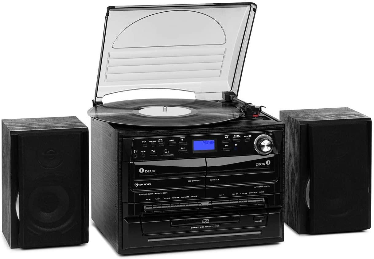 auna 388-DAB+ Equipo estéreo - Reproductor de vinilos , CD , Casetes , Bluetooth , Radio FM y Dab+ , Compatible MP3 , Display LCD , Conexiones USB SD, Grabación en casetes , Mando a Distancia , Negro