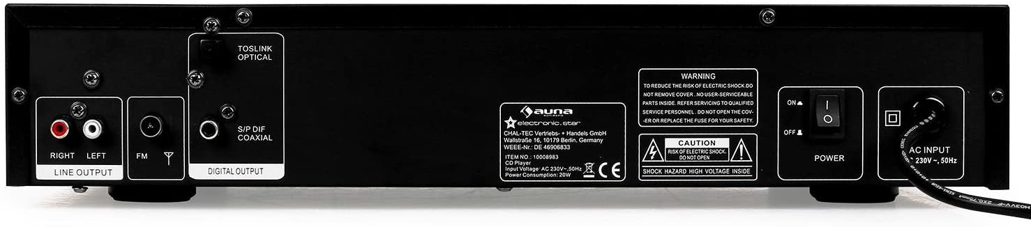 auna AV2-CD509 Shape Edition - Reproductor CD Alta fidelidad, Hi-Fi, Reproduce MP3, Sintonizador de Radio, Memoria hasta 40 Estaciones de Radio, Entrada USB, Control Remoto, Acero Inoxidable, Negro