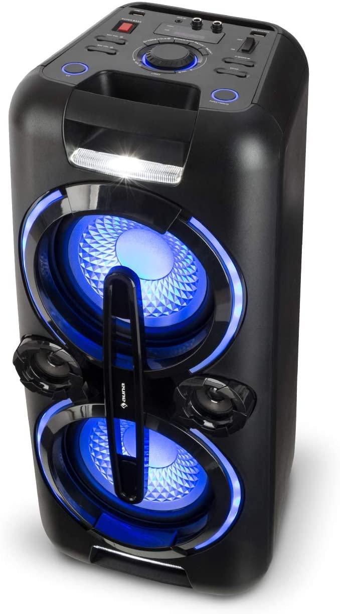 """auna Bazzter Party Sistema de Audio - Potencia:100 W RMS , Bluetooth , 2 Subwoofers 8"""" , Batería , USB , MP3 , Entrada AUX , Radio FM , Tecnología XMR Bass , Micrófono"""