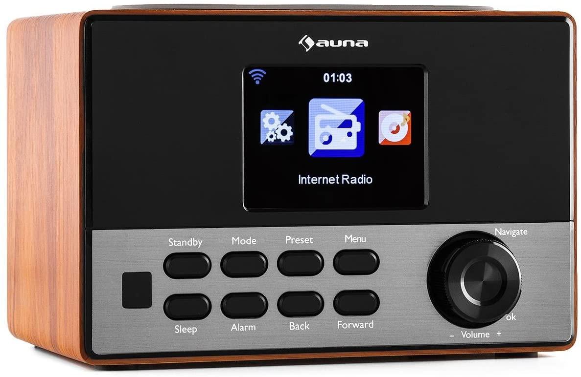 """AUNA Connect 90 WN Brown Edition - Radio por Internet, WLAN, Digital, Ecualizador, Puerto USB para MP3, Función de Alarma, Modo sueño, Pantalla Color TFT de 3,2"""" con atenuación, Marrón"""
