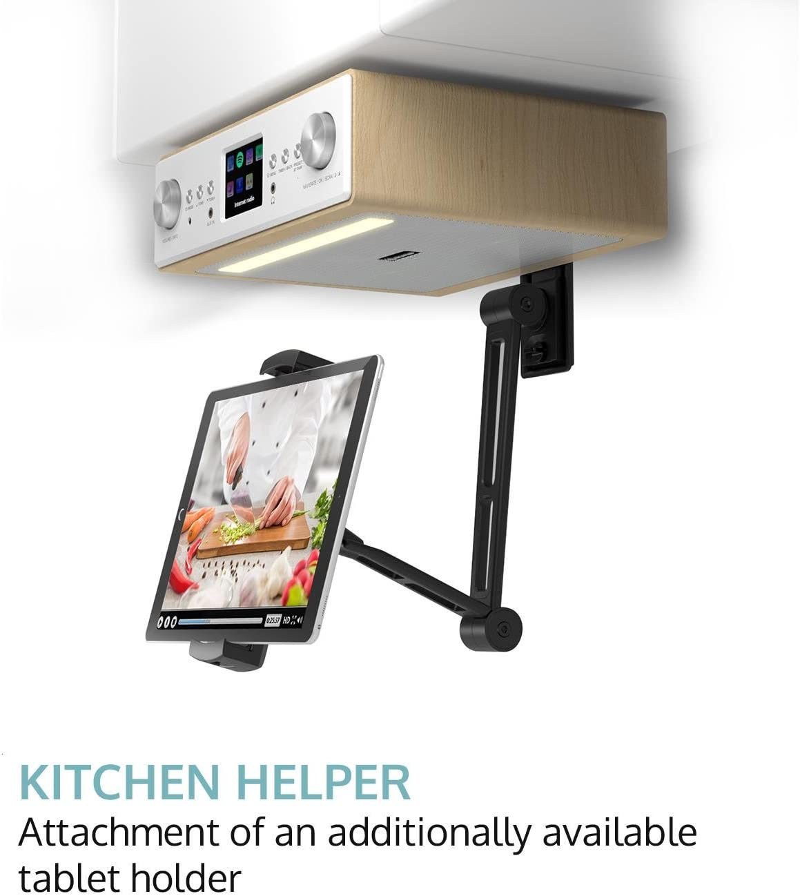 auna Connect Soundchef 2020 Edition - Radio de Cocina , Radio bajo Mueble , Digital , Internet , Dab+ , FM , Soporte para Tablet , Altavoces Integrados , Mando a Distancia , Madera Clara