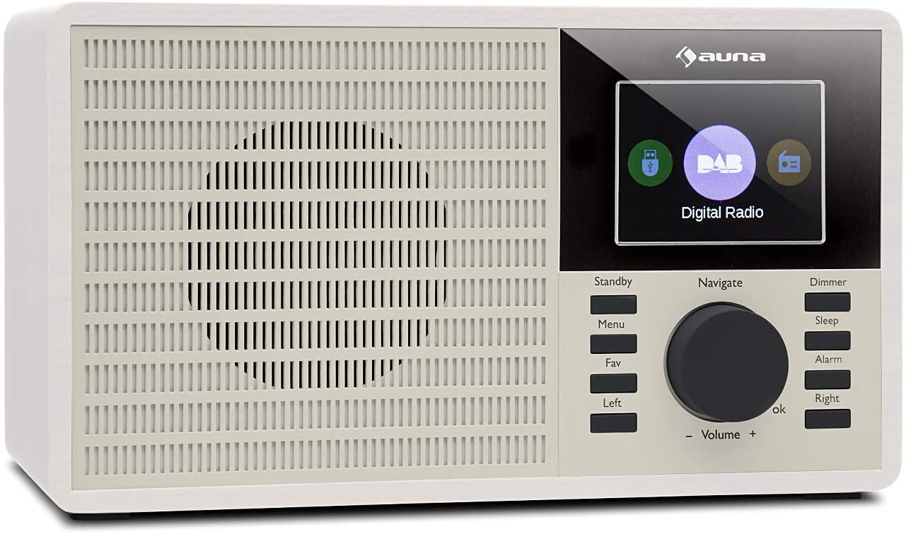 "auna DR-160 BT 2020 Edition - Radio Digital , Sintonizador Dab+ , FM , Interfaz Bluetooth , USB , AUX , Compatible con MP3 , Display 2,4"" , Alarma Despertador , Función de autoapagado , Blanco"