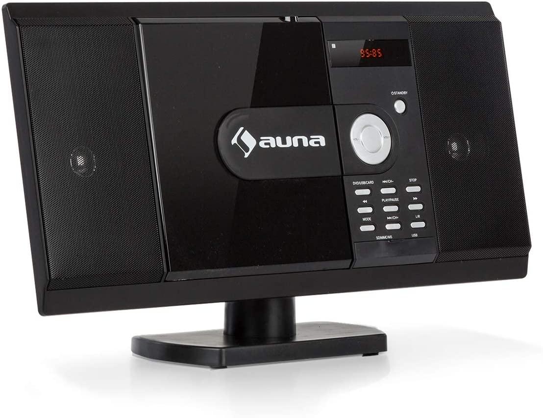 auna MCD-82 BT Microcadena con Bluetooth Slim Edition - Equipo estéreo Compacto, Minicadena ,Reproduce CD y DVD, Puerto USB y Entrada SD, FM, HDMI, AUX, MP3, Pantalla LCD, Negro