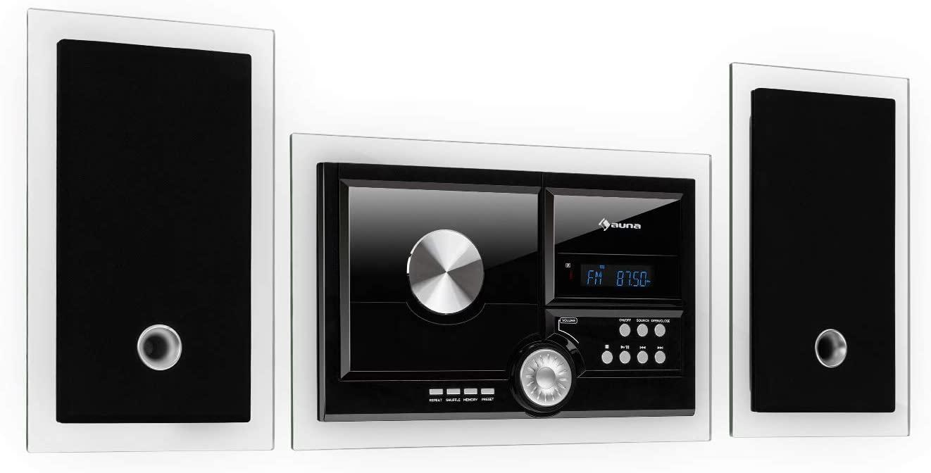 auna Stereosonic Stereo System - Minicadena estéreo , Equipo de música , Reproductor de CD , Puerto USB , Interfaz Bluetooth , AUX , Instalación en Pared , Mando a Distancia , Compacto , Negro