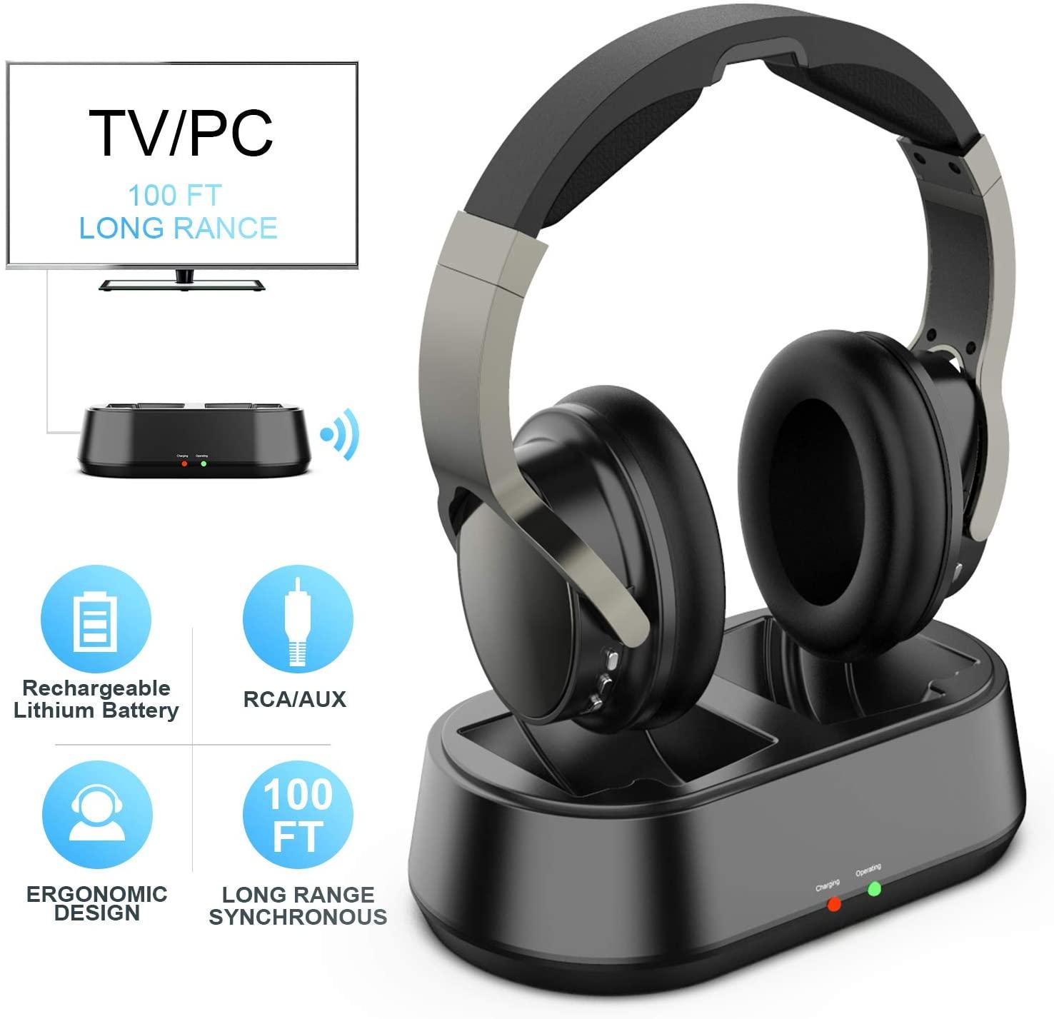 Auriculares Inalambrico TV con Transmisor y Port 3.5mm AUX, Auricular De Diadema para Television