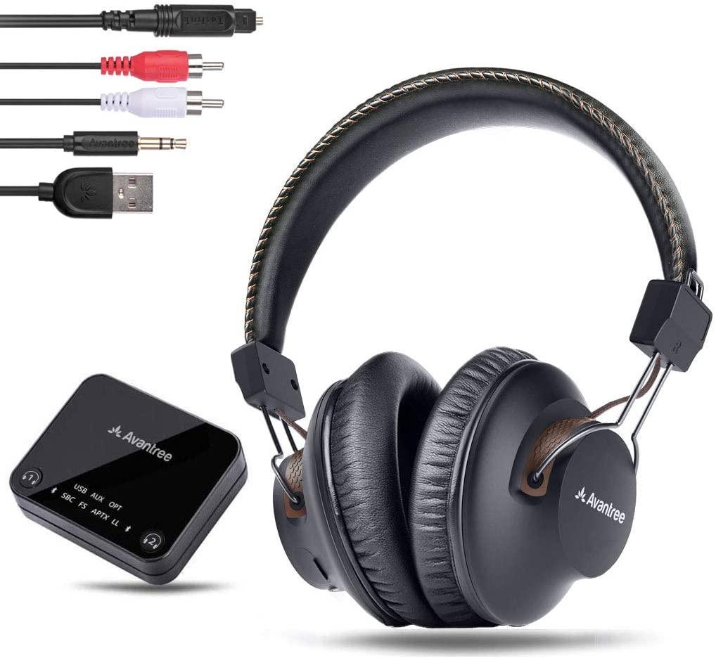 Avantree HT4189 Auriculares Inalambricos TV con Transmisor Bluetooth, Soporta Óptica, RCA, AUX de 3,5mm, USB de PC, Plug & Play, sin retardo, 30 Metros de Alcance, 40 Horas de batería