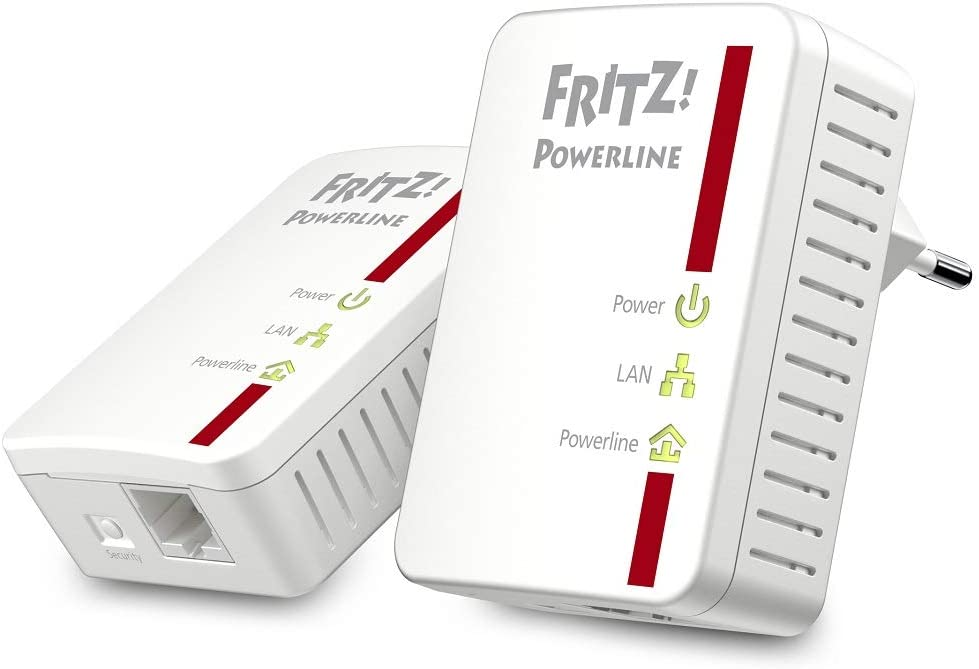 AVM Fritz!Powerline 510E Set International - Adaptador/Extensor de Red por línea Eléctrica, PLC, Compatible IEEE P1901, 500 Mbps, 1 Puerto LAN Fast Ethernet, Blanco