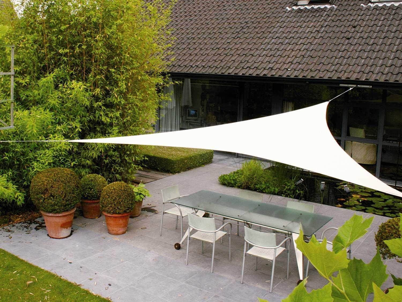 AXT SHADE Toldo Vela de Sombra Triangular 3 x 3 x 3 m, protección Rayos UV Impermeable para Patio, Exteriores, Jardín, Color Crema