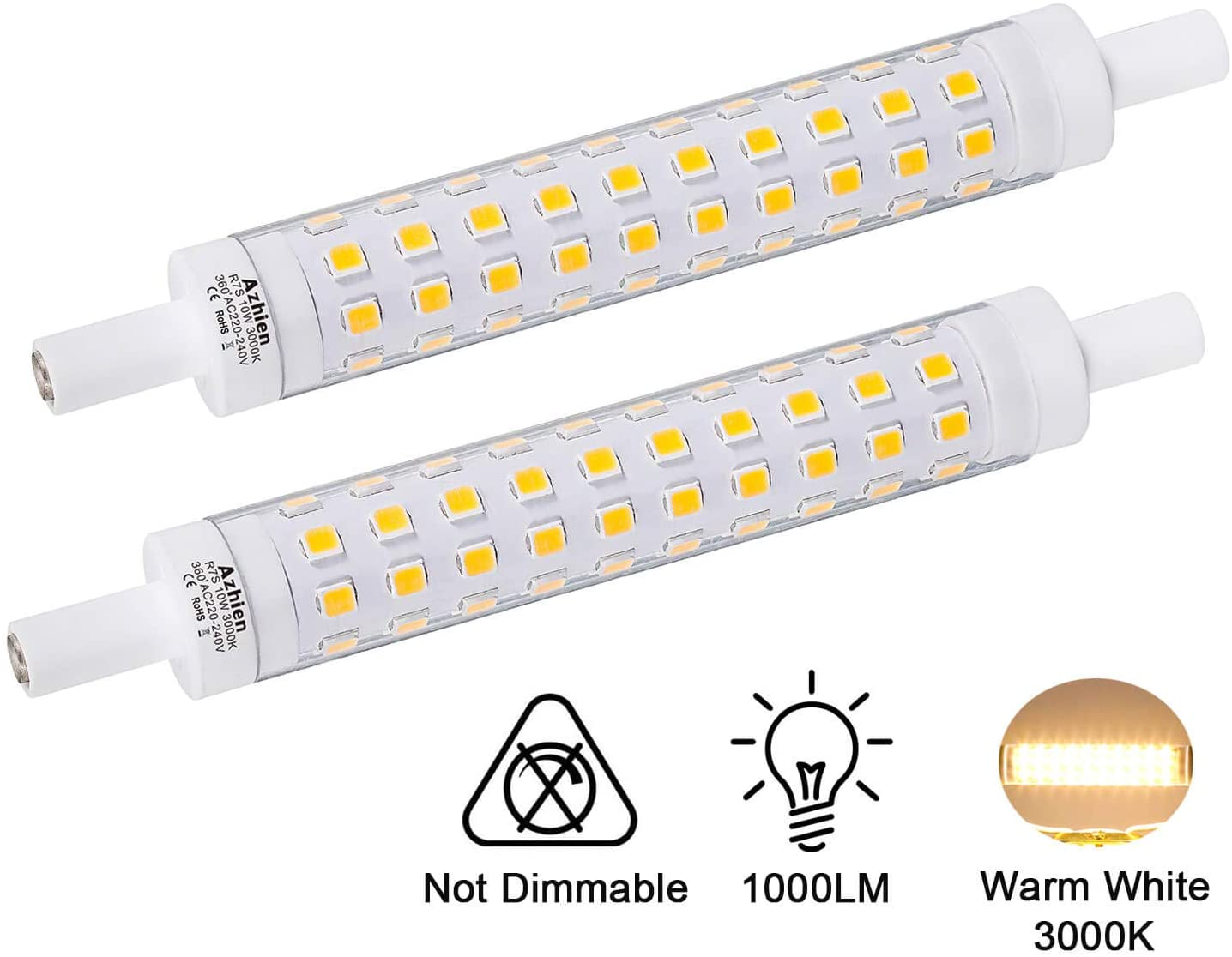 Azhien Bombilla R7S LED 10W 118mm Doble Extremo Lineal Reflector Bombilla, Luz Blanca Cálida 3000K,No regulable, Equivalente a 48W 60W 75W Lámpara Halógena, 230V AC,1000LM, 360 grados, pack de 2 [Clase de eficiencia energética A++]
