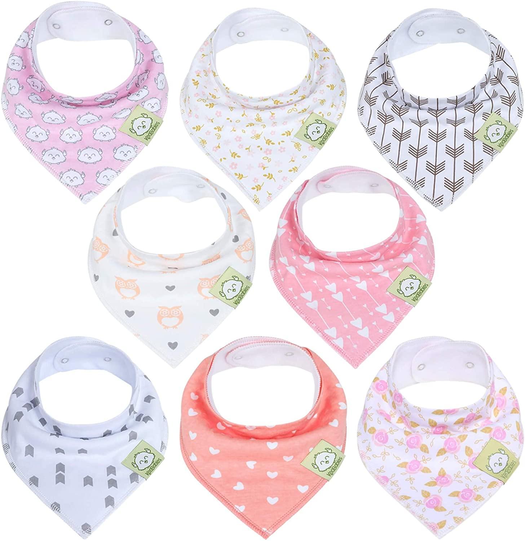 Baberos para bebé tipo bandolera para niñas - Baberos tipo pañuelo, de algodón orgánico súper absorbente - Babero para baba de bebé - Baberos para dentición (Sueños Rosados)