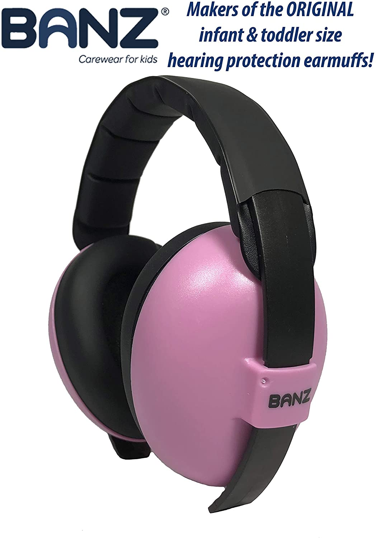 Baby Banz EM010 - Protector acustico con almohadillas para bebés de 0 a 3 años, Rosa