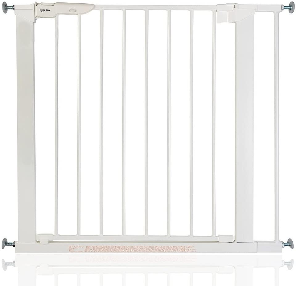 BabyDan Premier - Bebé Puerta de la Escalera Barrera de Seguridad Blanco, 79,6 - 86,5cm