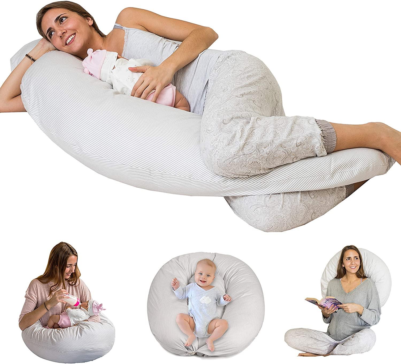 Bamibi® Almohada Embarazada + Cojín Interno Multifuncional, Cojín Lactancia Bebé, Cama Nido Bebé. Fundas 100% Algodón, Relleno 100% Poliéster. Protector Cuna, Lavable. Rayas