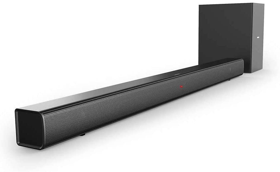 Barra de Sonido Bluetooth Philips HTL1520B/12 (Bluetooth, Subwoofer Inalámbrico, HDMI ARC, Entrada de Audio de 3.5 mm, Diseño Plano, 70 Vatios), Color Negro