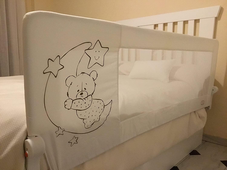 Barrera de cama para bebé, 180 x 66 cm. Modelo osito y luna gris. Barrera de seguridad.para bebe.