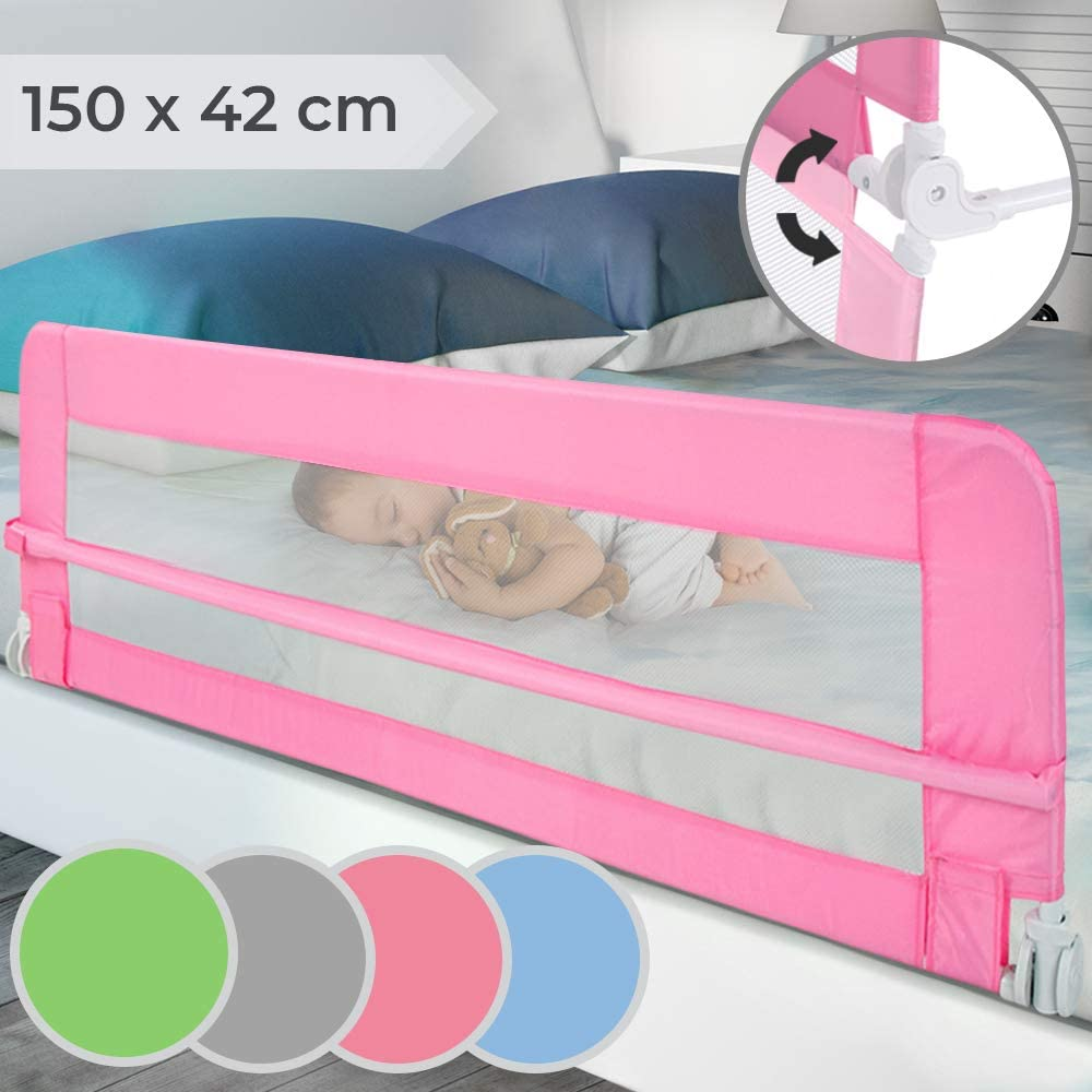 rosa Rosa Talla:150 x 65 cm Barrera de cama plegable barrera para cuna barrera de protecci/ón contra ca/ídas