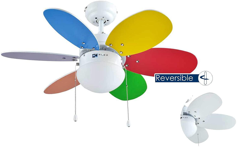 Bastilipo Caleta Ventilador de Techo con Luz E27, 60 W, Blanco, 75 x 32 cm [Clase de eficiencia energética A++]