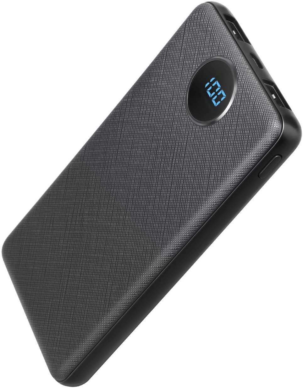 Bateria Externa 10000mAh, POSUGEAR Powerbank con 2 Salidas (2.1A+1A) y Pantalla LCD Compatibles con Todos Los Teléfonos y Tabletas