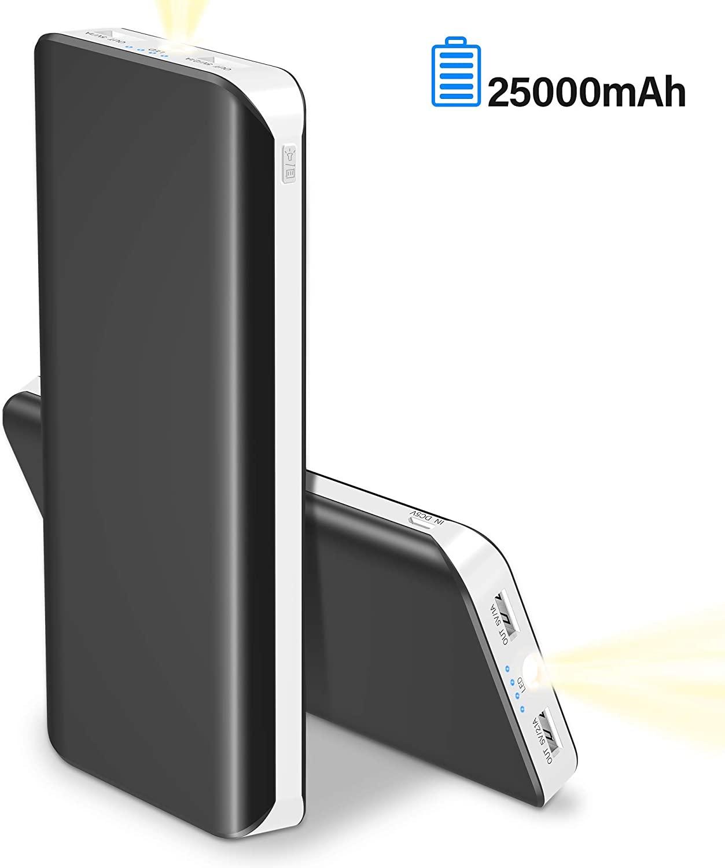 Batería Externa 25000mAh Bateria Portatil para Movil Alta Capacidad Power Bank (2USB, 5V 1A, Más 2.1A, con Linterna) Indicadores LED Cargador Portatil Movil para iPhone Huawei Android y Tabletas