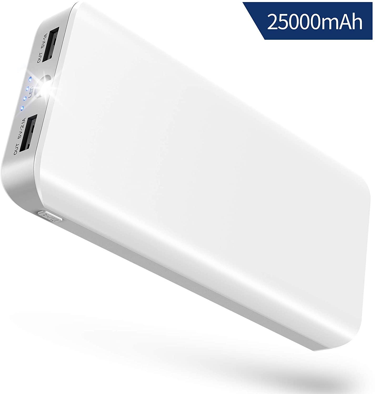 Batería Externa Móvil, 25000mAh Power Bank Cargador Portátil con Ultra Alta Capacidad, 2 Salidas USB, Linterna LED y 4 Indicadores para iPhone iPad Huawei Xiaomi Tablet, Otros Dispositivos de Androide