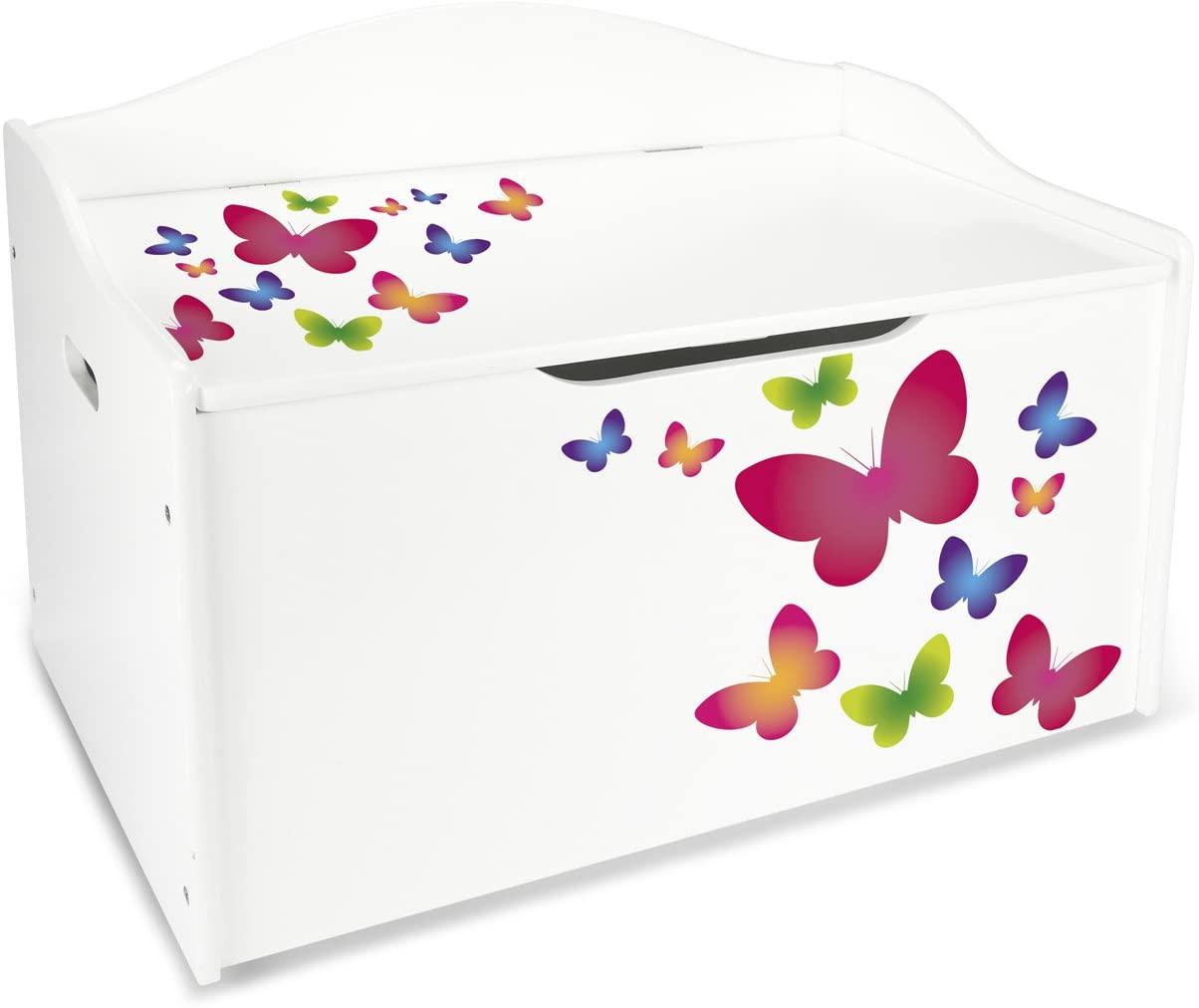 Baúl Para Juguetes XL Caja de Madera Almacenamiento Baúl Infantil Cuarto de Niños Equipamiento de Sala Jardín de Infantes Guardería Para Juguetes y Accesorios Mariposas Coloridas