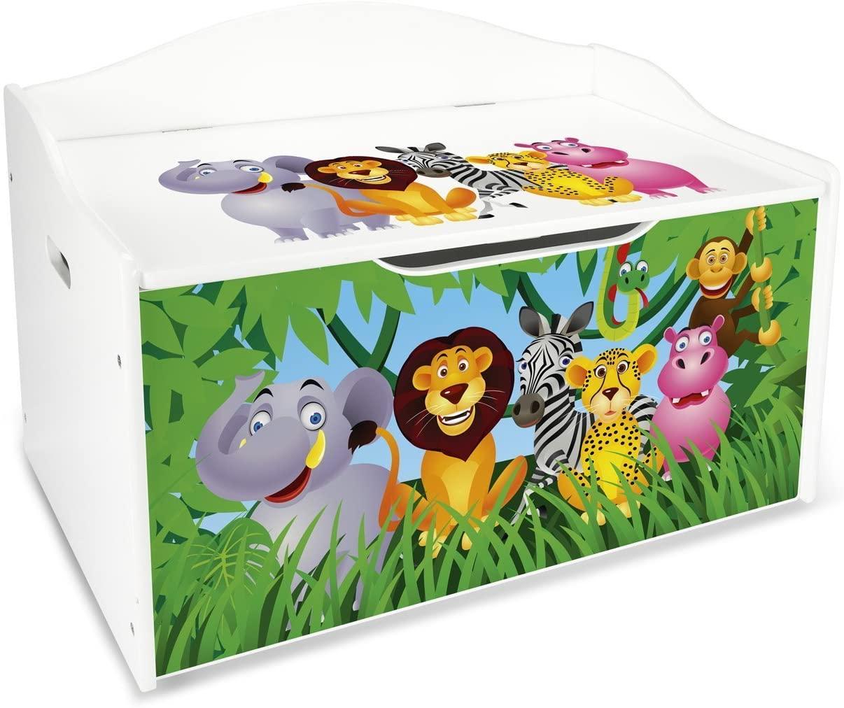 Baúl Para Juguetes XL Caja de Madera Almacenamiento Baúl Infantil Cuarto de Niños Equipamiento de Sala Jardín de Infantes Guardería Para Juguetes y Accesorios Zoo Animales