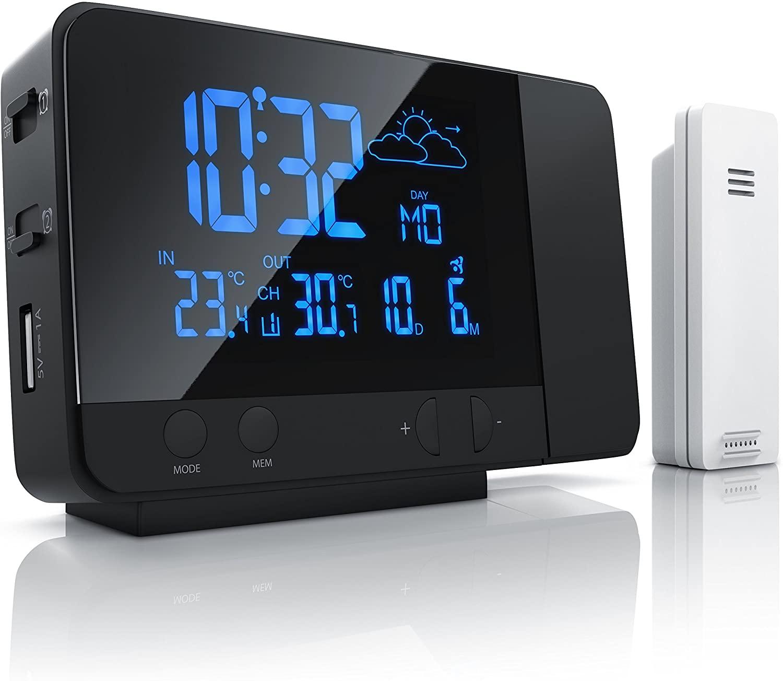 Bearware - Estación meteorológica inalámbrica con proyección y Sensor Externo - Reloj DCF con Mando a Distancia- Función de Carga USB - Luz de Fondo RGB de 8 Colores - Negro