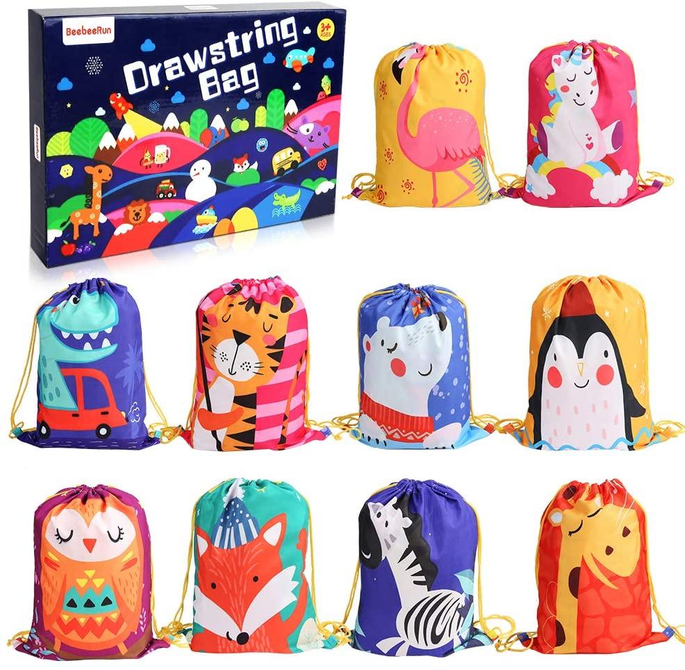 BeebeeRun 10Pack Bolsas de Cuerdas para Infantil,Mochila con Cordón Niños Bolsas Regalo Cumpleaños Deporte Gimnasio Backpack para Niños Niñas Fiesta de Cumpleaños Regalos